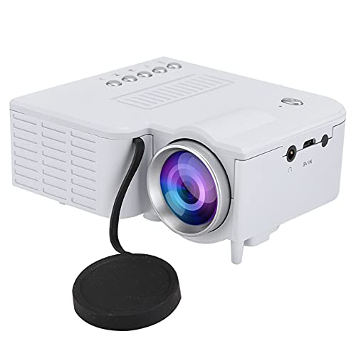 Vbestlife Fan + Aluminum Radiator + Eddy Air Duct Silent Projector, HD 1080P Home Cinema Projector, Miniature Portable Mini Projector Support Mobile Power 5V-2A(White)