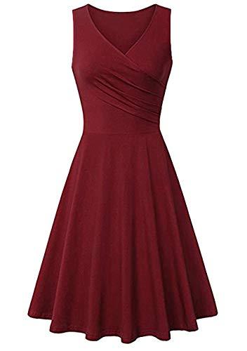 EFOFEI Damen Casual Swing Kleid Vintage V-Ausschnitt Kleid Solid Dress Burgund L
