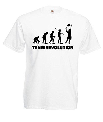 CHEIDEASTORE T-Shirt Tennis Evolution Maglietta Tennis Sport Uomo (XLarge, Bianco)