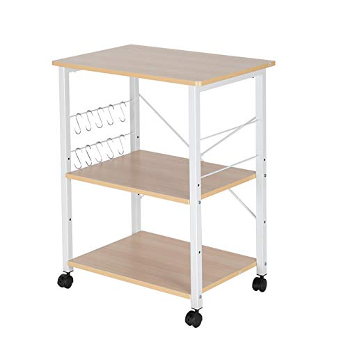 Home Furnishing Plaza Baker's Rack 3-Tier Kitchen Utility Microwave Oven Stand Storage Cart Workstation Shelf(Light Beige Top White Metal Frame) Utility Shelves for Kitchen Living Room Bathroom