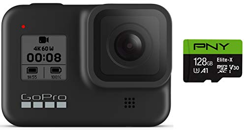 GoPro HERO8 Black + PNY Elite-X 128GB U3 microSDHC Card (Bundle) 1 BUNDLE: GoPro HERO8 Black Camera + PNY SD Card STREAMLINED DESIGN - The re-imagined shape is more pocketable, and folding fingers at the base let you swap mounts quickly. A new side door makes changing batteries even faster, and the lens is now 2x more impact-resistant. HERO8 BLACK MODS - Vloggers, pro filmmakers and aspiring creators can do more than ever imagined – with quick-loading accessories like flashes, microphones, LCD screens and more. Just add the optional Media Mod to up your capture game.