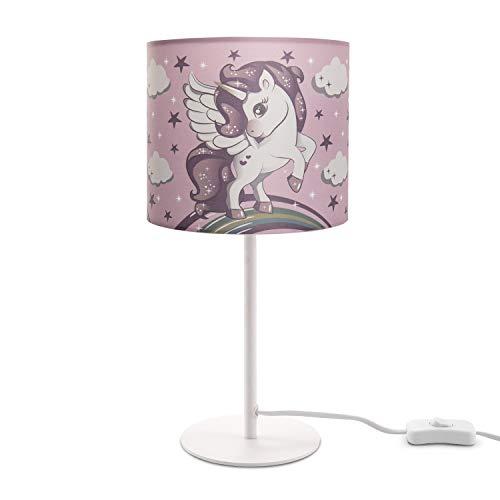Paco Home Kinderlampe LED Tischlampe Kinderzimmer, Einhorn Lampe, Mädchen Tischleuchte E14, Lampenfuß:Weiß + Leuchtmittel, Lampenschirm:Pink (Ø18 cm)