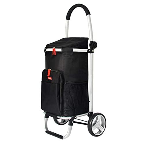 BSJZ Selbstfahrender Einkaufswagen, Life-Einkaufswagen Klappbarer tragbarer Einkaufswagen Wagen aus Aluminiumlegierung Trolley-Autoanhänger Gepäckwagen Älterer klein