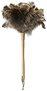 Ostrich Feather Duster,Long Ostrich Feather Duster Fluffy Natural Genuine Ostrich Feathers and Eco-Friendly Reusable Wooden Long Handheld large Ostrich Feather Duster Cleaning,Gray Brown 24 inch 1Pack