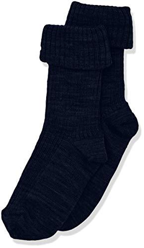 Melton Unisex Baby Basic Wolle breit gerippt Socken, Blau (Marine 285), 16 (Herstellergröße: 15-16)
