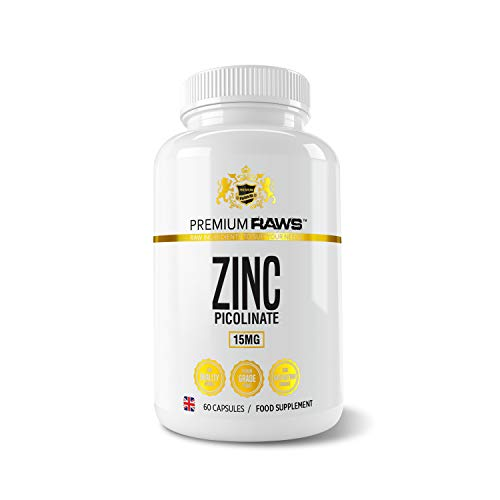 Zinc Picolinate 15mg - 60 Vegetarian Capsules Highly Absorbable Zinc Supplements for Immune Support, Hair and Skin & Reproductive Health. for Men & Women.