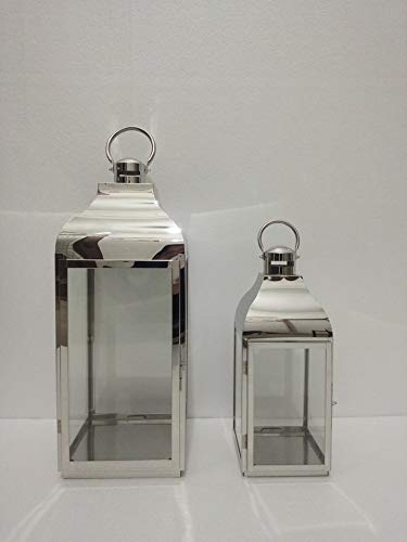 Set of 2 large Tabletop Stainless Steel Indoor or Outdoor Candle Lanterns