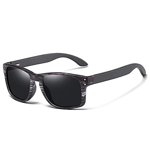 NIUBKLAS Gafas de sol polarizadas de bambú para hombre Gafas de sol de madera para mujer Gafas de madera originales de diseñador masculino S5526 Negro
