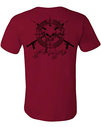 Spearfishing/Scuba Diving T-Shirt: Skull & Spearguns: Freedive | Dive | Spearfish - Cardinal - 3XL