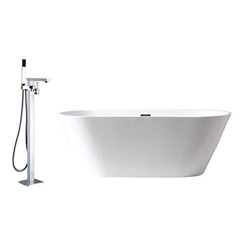Bernstein Badshop Acryl-Badewanne in Weiß OMS OMS-771 170 x 74 cm ovale Standbadewanne inkl. Ab-/Überlauf & Armatur 1521