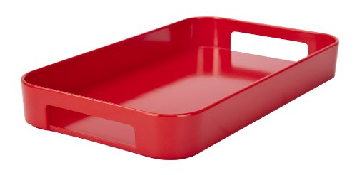 Zak Designs Skinny Gallery Melamine Serving Tray, Easy to Hold and Modular Design Fits in Larger Tray, Perfect for Indoor/Outdoor Activities (13in x 7.5in x 1in, Red, BPA-Free)