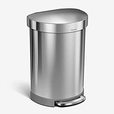 simplehuman 60 Liter Semi-Round Hands-Free Kitchen Step Trash Can with Soft-Close Lid Brushed Stainless Steel