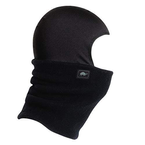 Turtle Fur Original Fleece Kids Shellaclava Balaclava with Attached Neck Warmer, Black - Small