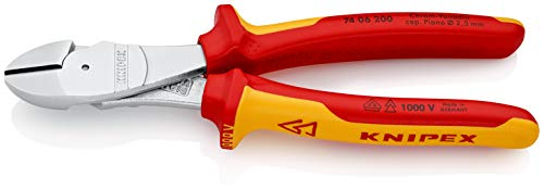 KNIPEX 74 06 200 Kraft-Seitenschneider verchromt isoliert mit Mehrkomponenten-Hüllen, VDE-geprüft 200 mm