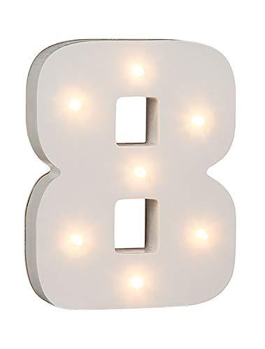 "Out of the Blue 57/6108 - Holz Ziffer ""8"" beleuchtet mit 7 LED Lichtern, batteriebetrieben, ca. 16 cm"