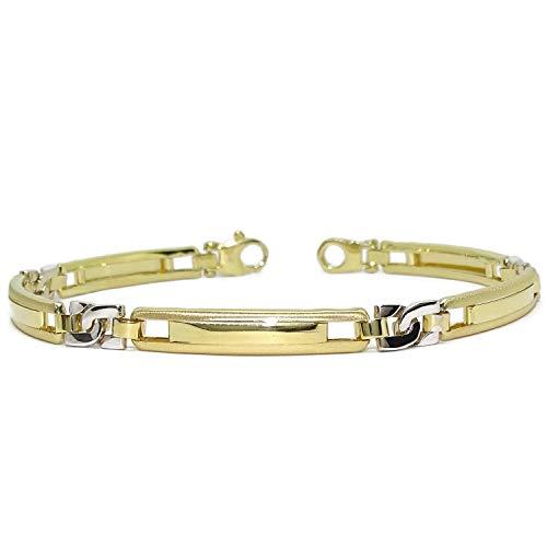 Espectacular pulsera para hombre de oro de 18k blanco y amarillo de 5.5mm de ancha y 21.50cm de larga. Cierre mosquetón grande para máxima seguridad. Peso; 10.95gr de oro de 18k Grosor 2.50mm