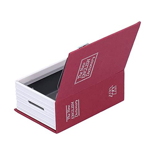 Caja de seguridad, como caja de efectivo para libros con llave y cerradura para guardar monedas, joyas(Mini red)