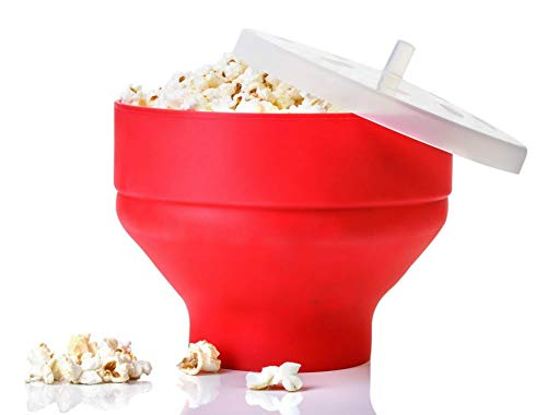 Lowest Prices! Silicone High Temperature Resistant Popcorn machine DIY Bowl large with lid creative ...