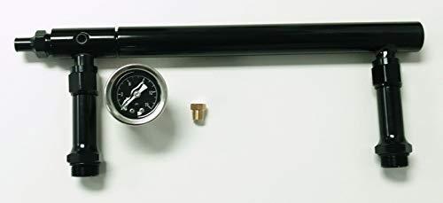 Pirate Mfg Aluminum Holley 4150 Double Pumper Fuel Line Log Anodized W/Black Oil Gauge