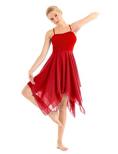 YOOJIA Damen Tanzkleid Latein Kleid Chiffon Ballettanzug Tanz-Body Gymnastikanzug Ballett Body Tanz Trikot Leotard mit Asymmetrischen Rock Rot S