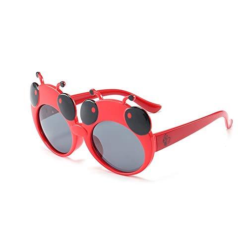 Gafas De Sol Linda De La Mariquita, Niños Vidrios Polarizada, Marco De Silicona, Protección UV 400 Gafas, For Chicos, Chicas Edad 3-12 regalo maravilloso pero práctico ( Color : Red , Size : Grey )