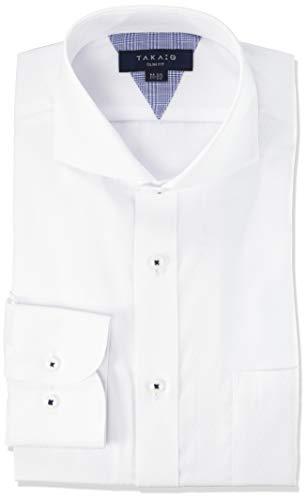 [タカキュー] ワイシャツ 形態安定 抗菌防臭 スリムフィット 長袖 ビジネスシャツ メンズ シロ/カッタウェ...