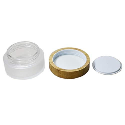 Hustar Leer Glasflaschen Cremetiegel Töpfchen Döschen Reise Kosmetikbehälter mit Bambus Deckel 50ml