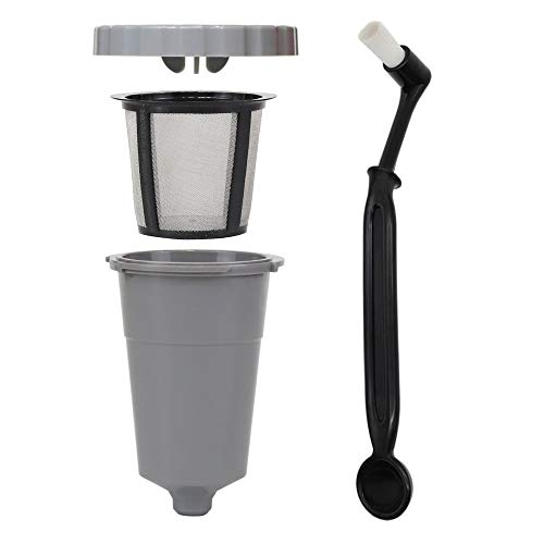 Reusable K Cups for Keurig 1.0 Brewers - Replaceable Single Cup Coffee Pod for My K Cup + Stainless Steel Mesh Filter + Nylon Bristle Cleaning Brush