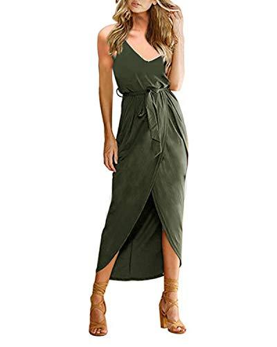 CNFIO Kleider Damen Sommerkleider Maxi Kleid ?rmellos Abendkleid Strandkleid Elegant Lange Cocktail mit G¨¹rtel Armee Gr¨¹n XL