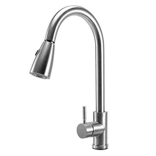 GOTOTOP Kitchen Faucet Single Handle Brushed Nickel with Pull Down Sprayer, Commercial High Arc Pull Out Stainless Steel Kitchen Sink Faucets Hot and Cold Water Tap for Home Kitchen Bathrrom Use