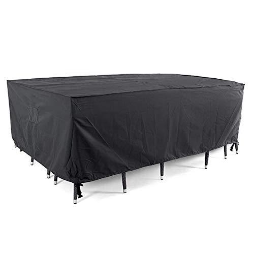 FELENX Cubierta rectangular negra para muebles de jardín, impermeable, tela Oxford 210D, resistente al viento y al agua, utilizada para sofás y sillas al aire libre (A)