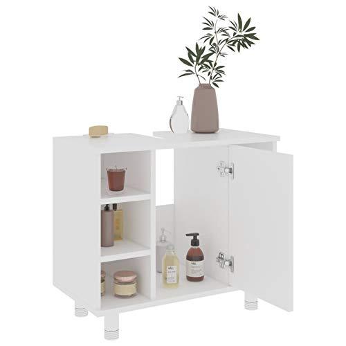 WooDlan Armario Mueble Almacenaje Organizador para Baño Cocina Salón con 7 Compartimentos y 1 Puerta 60x32x53,5 cm Blanco