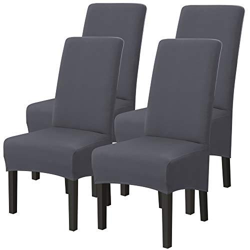 IVYSHION Housse de Chaise XL de Salle à Manger Extensible Couverture de Chaises Dossier Haut Amovible et Lavable Housses de Chaises pour Hotel Décor Mariage Gris 4PCS