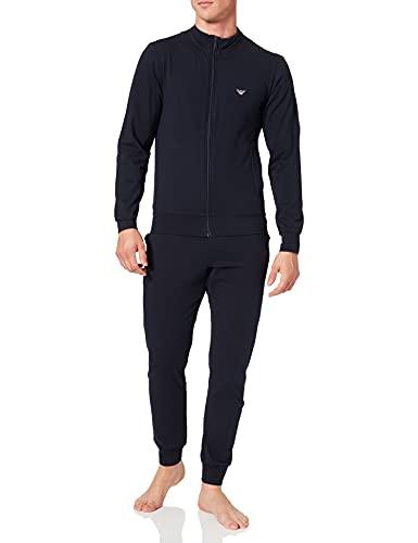 Emporio Armani Men's Full Zip Sweater and Pants Loungewear Set, Marine, Small