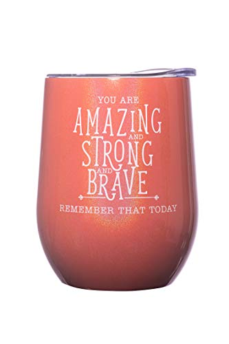 DiverseBee Inspirational Thank You Gifts for Women, Mom, Sister, Wife, Girlfriend, Coworker, Nurses, Best Friend, Female Birthday Encouragement Wine Gifts - Insulated Wine Tumbler Cup with Lid (Coral)