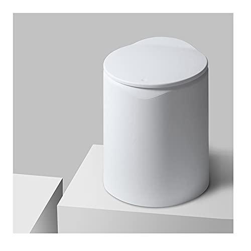DAGCOT Cubos de Basura para Exterior Bote de Basura con Tapa para el hogar baño baño baño Dormitorio Simple Moderno Creativo Papelera de contenedor de Basura (Color : White)