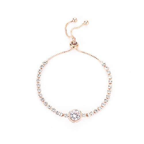 Shop-PEJ Rosa Oro Amor corazón Zircon Pulsera para Las Mujeres Simples Diamantes de imitación Damas Joyas de la Pulsera para Mujeres/mamá/Esposa (Metal Color : 01 Rose Gold)