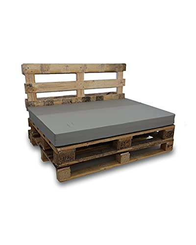 Asiento de Espuma para Sofá Palet - Microfibra Color Gris - Densidad es D25 Media-semidura - (Dimensiones 120x80x10 cms) - Ideales para Interior y Exterior, Chill out, terrazas, Piscinas.