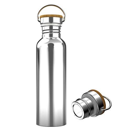 Interlink-UK 750ml Trinkflasche Edelstahl mit Bambusdeckel Isolierflasche Getränkeflasche Sportflasche BPA Frei Vakuumisolierte Thermoskanne für Outdoor, Büro, Camping (750ml)