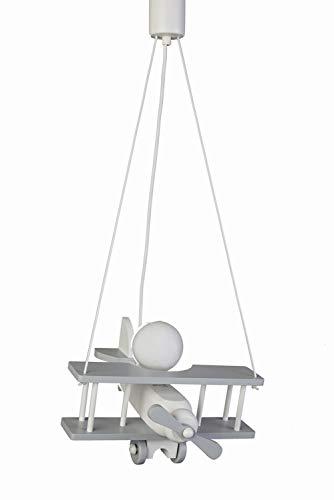 WALDI Kinderzimmer Pendelleuchte Flugzeug grau/weiß, E27