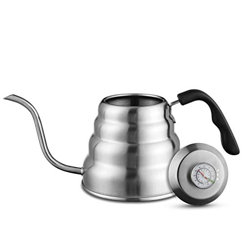 Gooseneck Kettle Stovetop - Stainless Steel Pour Over Coffee & Tea pots With Thermometer for Exact Temperature - Barista Kitchen Essentials for Brewing (1.2 Liter, 40 fl oz)