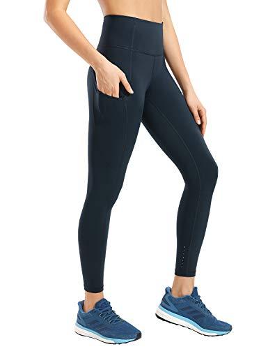 CRZ YOGA Donna Vita Alta Yoga Fitness Spandex Palestra Pantaloni Sportivi Leggins con Tasche-63cm True Navy-R427 48