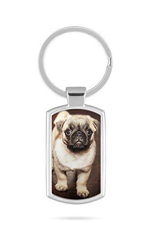 Schlüsselanhänger mit Gravur Wunschtext Name Mops Hund V5
