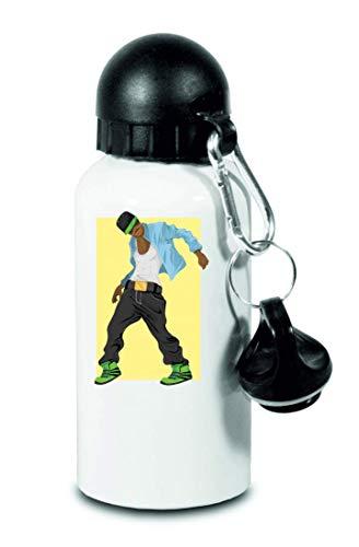 Drucklebnis24 – Botella de agua para hombre, bailarina Afro – para niños, escuela, deporte, fitness – fina botella de agua de aluminio, color Blanco, tamaño 500 ml