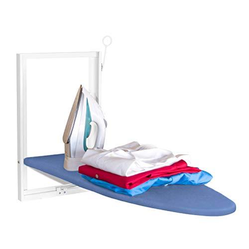 Tabla de planchar montada en la pared Xabitat - Tabla de planchar plegable de montaje compacto para espacios pequeños - Ahorro de espacio con cubierta de tela de algodón - Blanco y azul