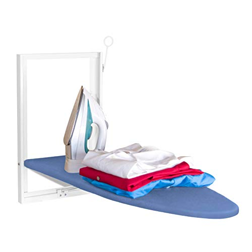Xabitat Wall Mounted Ironing Board | 37' X 12' Compact Mount Fold Down Ironing Board for Small Spaces | Space Saving with Cotton Fabric Cover | White and Blue
