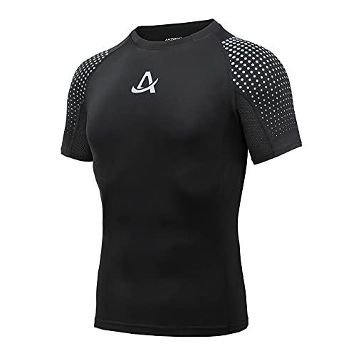 AMZSPORT Maglie Compressione Uomo Maglietta Palestra a Manica Corta T-Shirt Ciclismo Running, Nero, L