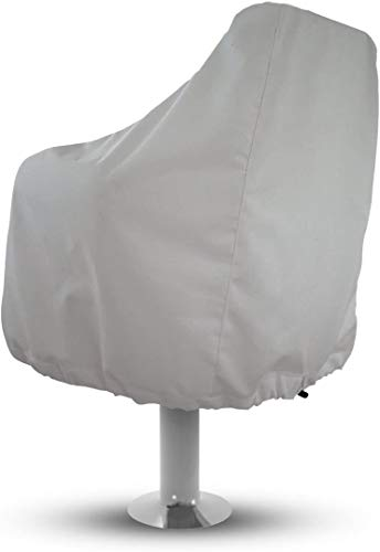 Sun-Protect Marine Canvas Boat Seat Cover, White Weather Resistant Fabric Protects Captain's Chair from The Elements (1)