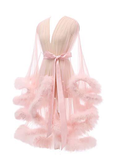 Lamosi Sexy Feather Robe Illusion Fur Trim Boudoir Robe Nightgown Bathrobe Bridal Lingerie Wedding Scarf Blush Pink Size Medium
