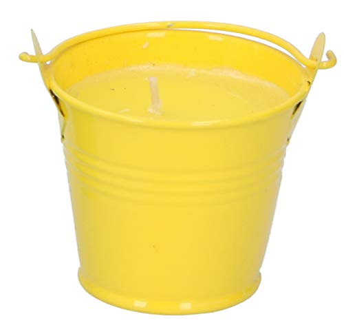 ABRUS Small Citronella Candle in Metal Bucket | Perfect Decor for Outdoors Parties, Reiki or Spa - Diffuses a Pleasant Citronella Fragrance Keeping the Pesky Bugs Away (Yellow)
